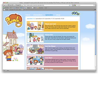 website design for animation series shown on RTE